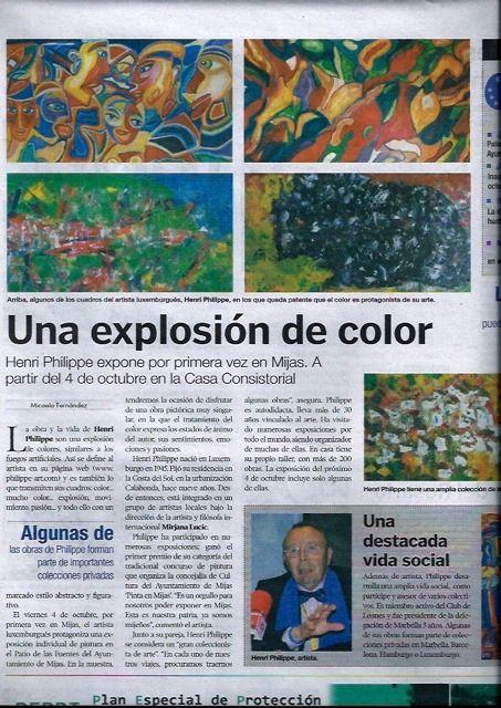 2. Pressebericht der Kunstausstellung in der Gemeinde von Mijas von 4. Okt bis 3. Nov 2013
